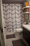 hand painted shower curtain with herringbone design